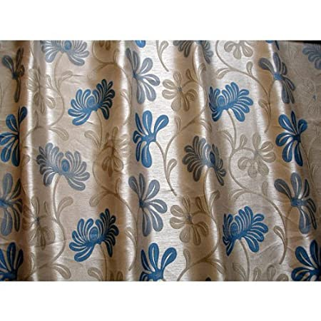 48quot Wide Teal Beige Ivy Upholstery Curtain Fabric By The Yard