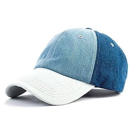 e35e58f38c1 QETUOAD 3 Color Denim Patchwork Baseball Cap for Women Plain Color Cotton Snapback  Cap Summer Casual