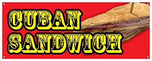 Cuban Sandwich Banner Hot Fresh Bread Meat Concession Stand Sign 18x48