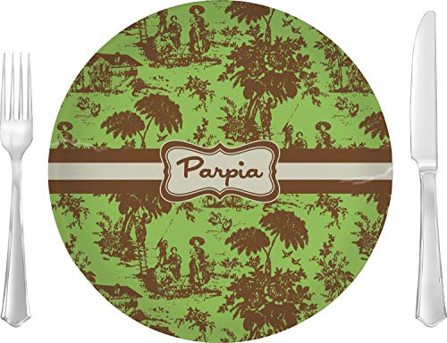 Green & Brown Toile Glass Lunch/Dinner Plate 10
