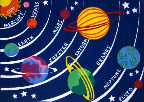 Roule Fun Time Collection Solar System 19X29 Inch Kids Area Rugs by Roule Rugs