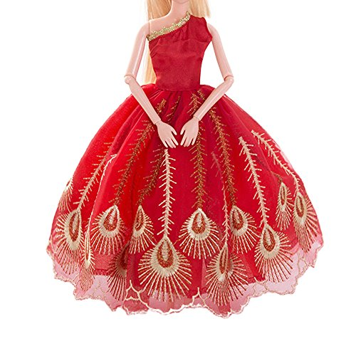 AMOFINY Fashion Pure Red Wedding Dress Evening Party