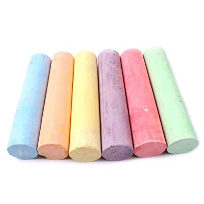 Pack of 6 Jumbo Sidewalk Chalk,Washable Sidewalk Chalk Set,Washable Pavements Sticks Art Floor Chalks for Indoor Outdoor Children's Chalk Bars Driveway Fun: Toys & Games