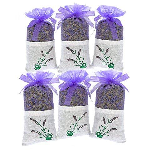 YUMSUM 6 Pcs Fresh Dried Lavender Sachets Clothes Fragrant Scented Bags (6 Lavender Bags) Fragrant Sachet
