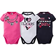 NFL Houston Texans Girls Short Sleeve Bodysuit (3 Pack), 6-12 Months, Pink