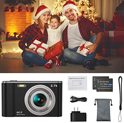 "44MP Small Digital Camera for Photography Beginners, 2.7K Vlogging Camera 2.88"" IPS 16X Digital Zoom Point and Shoot Camera for Kids Teens Christmas,Thanksgiving Days,Birthdays Gift (Black)"