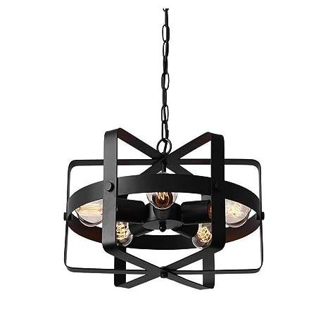 Luces Led Edison Lightsantique Forma de Tambor Metálico Techo Redondo Lámpara Colgante Con 5 Bombillas E27
