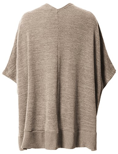 H2H Women's Winter Knitted Cashmere Poncho Capes Shawl Cardigans Sweater Coat Beige US L/Asia L (CWOCASL02) by H2H (Image #3)