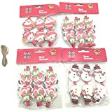 24Pcs Santa Claus/Snowman/Reindeer/Christmas Tree Wooden Craft Clips Clothespins Mini Photo Paper Peg Clips for Christmas Home Decoration + 2m Twine Gift
