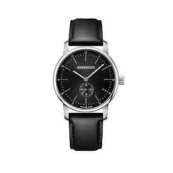 WENGER Reloj Analogico para Unisex de Cuarzo con Correa en Cuero 01.1741.102: Amazon.es: Relojes