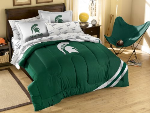 NCAA Michigan State Spartans Full Bed in a Bag with Applique Comforter (Michigan Bedroom Set)