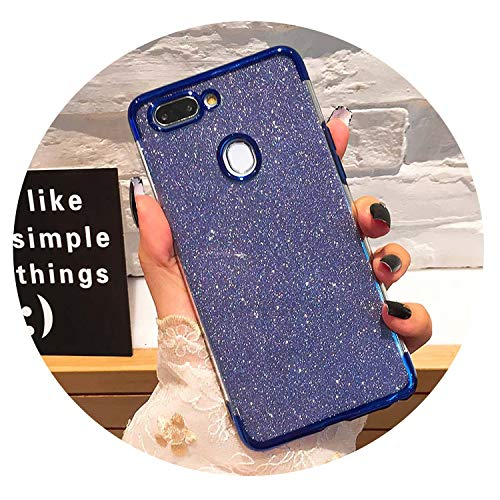 Glitter Bling Phone Cases for Huawei Mate 20 Lite X P Smart 2019 Plating Soft TPU Case on Honor 8X 7A 7C 10 9 P30 P20 Pro Lite,Blue,Honor 7C 5.99 inch