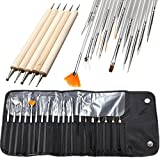 20 Pcs Nail Brushes Acrylic Painting Drawing Dotting Builder Fan Line Pen with Bag Professional Soft Nails Art Brush Tool Kits Goodly Popular Pedicures Toenail Pads Lacquer Natural Cleaner French Kit
