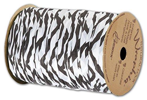 """Animal Print Raffia - Matte Wraphia Zebra Ribbon, 1/4"""" x 100 Yds (3/pack) - BOWS-74900-ZE"""