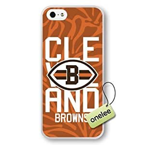 NFL Cleveland Browns Team Logo iphone 4 4s White Rubber(TPU) Soft Case Cover - White