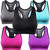 BAOMOSI Women Racerback Sports Bras - Padded Seamless High Impact Support Yoga Gym Activewear Bra Black Blue Grey Pink Purple L