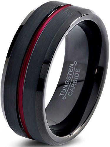 Tungsten Wedding Band Ring 10mm for Men Women Red Black Beveled Edge Brushed Polished Lifetime Guarantee