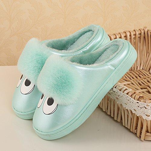Green Hommes Slipper LaxBa Chaussures chauds intérieur peluche antiglisse d'hiver Chaussons Femmes Padded Cotton 5q7ZwPqB