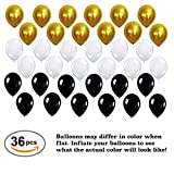 2017 Balloons Party Decorations White, Black, Gold - Graduation, Birthday, Wedding, Event Supplies - Mylar Latex - 44 Piece Set
