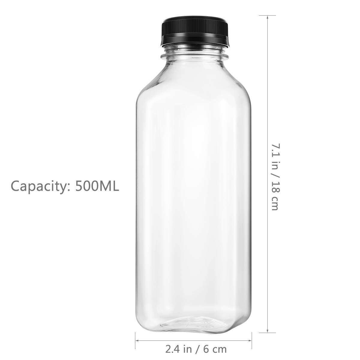 UKCOCO PET plastic empty storage containers for juice drinking bottles with lid with black screw caps 4 pcs