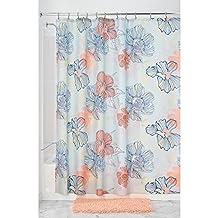 InterDesign Botanical Shower Curtain, 72x72-Inch, Elsa, Coral Multi