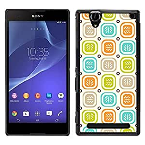 Jordan Colourful Shop - Leaves Colorful Pastel Pattern For Sony Xperia T2 Ultra Custom black plastic Case Cover
