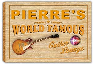 scpf1-0544 PIERRE'S World Famous Guitar Lounge Stretched Canvas Print Sign