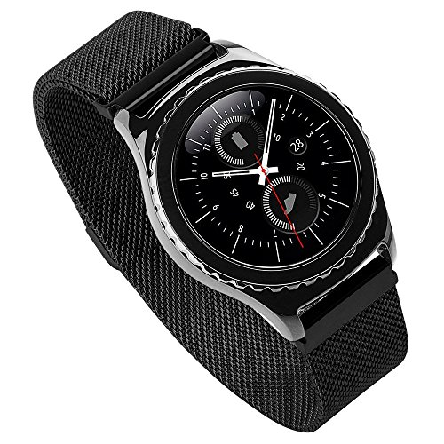EloBeth Compatible Samsung Galaxy Watch 42mm Bands,20mm Milanese Loop Stainless Steel Mesh Strap Replacement Band Magnetic Clasp for Samsung Galaxy Watch SM-R810/815 /Gear Sport/Suunto 3(Black)