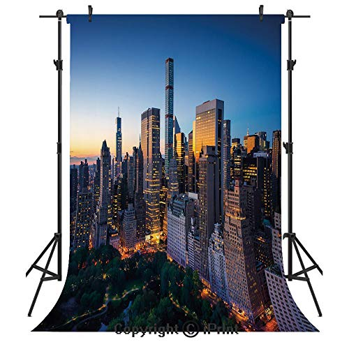 City Photography Backdrops,Sun Rising Over Central Park in Manhattan Tranquil Morning Skyscrapers,Birthday Party Seamless Photo Studio Booth Background Banner 5x7ft,Blue Marigold Dark Green]()