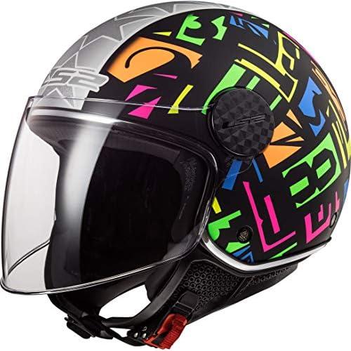 chollos oferta descuentos barato LS2 Casco de moto OF558 SPHERE LUX CRISP Negro HI VIS Amarillo Negro Fluo S