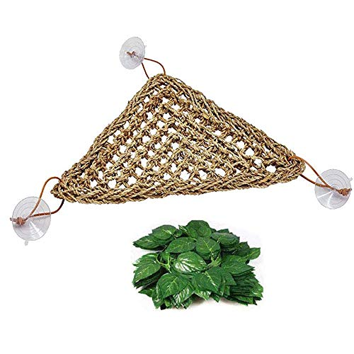 kathson Bearded Dragon Hammock Lizard Lounger,100% Natural Seagrass Fibers for Reptiles,Geckos,Anoles,Iguanas,Hermit Crabs and Snakes,Triangular and Plastic Terrarium Plant Leaves(12.6 x 16.53 -
