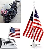 Universal Motorcycle American USA Flag + Flagpole Mount Luggage Rack Fender For Harley Sportster Fatboy Dyna Softail V-ROD Cafer Chopper Bobber Touring Electra Street Road Glide Road King(Silver)