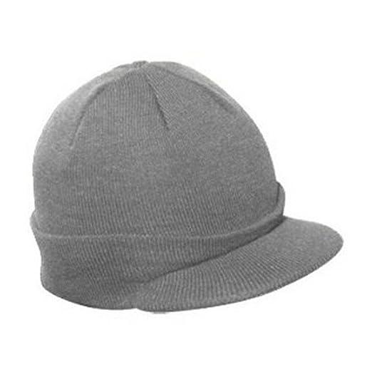 440b2b021f3 Knit Brim Ski Hat - Winter Visor Cap Skull Beanie (Gray) at Amazon ...
