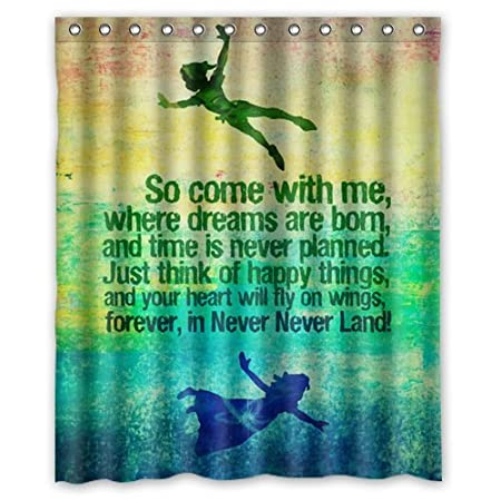 Special Designed Peter Pan Never Grow Up Shower Curtains 60 X 72 Home Decor Bath Curtain Animal Background 01 Amazoncouk Kitchen