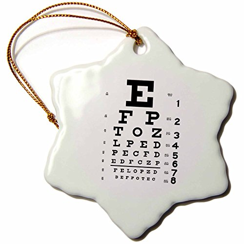 3dRose orn_110446_1 Eye Chart Alphabet in Black-Snowflake Ornament, 3-Inch, Porcelain