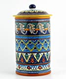 Hand Painted Italian Ceramic 11-inch Canister Geometrico 40E - Handmade in Deruta