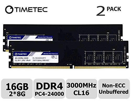 Timetec Extreme Performance Hynix IC 16GB KIT(2x8GB) DDR4 3000MHz PC4-24000  CL16 1 35V Unbuffered Non-ECC for Gaming and High-Performance Compatible