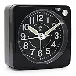 JCC Ultra Small Portable Pocket Size Non Ticking Analog Quartz Travel Alarm Clock with Ascending Sound Alarm, Snooze and Night Light Function - Battery Operated (Black - Round Dial)