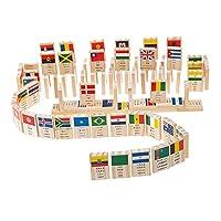 Perfk 約100本入り 知育玩具 ドミノ 100個  積み木 国旗 認知おもちゃ バランス能力 創造力 想像力 思考能力 訓練 の商品画像