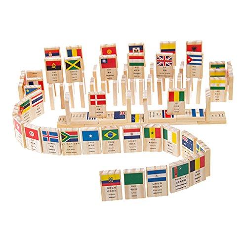 Perfk 約100本入り 知育玩具 ドミノ 100個  積み木 国旗 認知おもちゃ バランス能力 創造力 想像力 思考能力 訓練