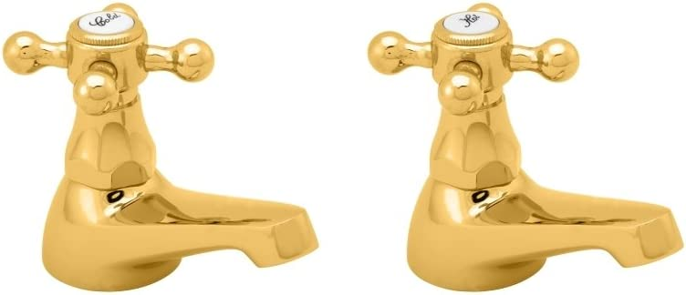 Deva TUD01//501 Traditional Tudor Gold Pair Basin Taps 5 Year Guarantee