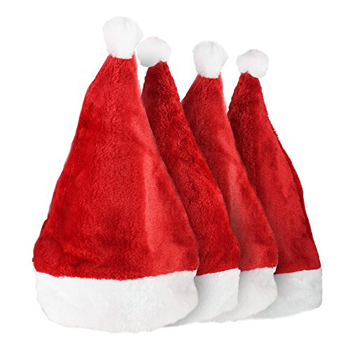 Christmas Hats,Novelty Santa Claus Hats,Christmas Costume Headwear Party Supplies for Kids and Adults. (4PCS Short Plush) (Cheap Santa Hat)