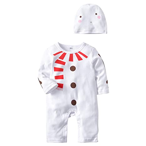Bebé Mameluco Navidad Mono Unisex Pelele Algodón Body Manga Larga Pijama con Gorra Traje de 2