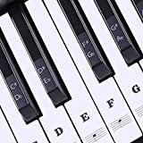 Piano Stickers for Keys, EAGKORD Piano Keyboard Stickers for 88/61/54/49 Full Set Stickers Removable, Leaves No Residue, Perfect for Learning and Practice - Black