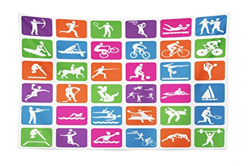 Lunarable Olympics Tapestry, Collection with 36 Sport Icons Basketball Cycling Diving Mountain Bike Wrestling, Fabric Wall Hanging Decor for Bedroom Living Room Dorm, 45 W X 30 L inches, Multicolor