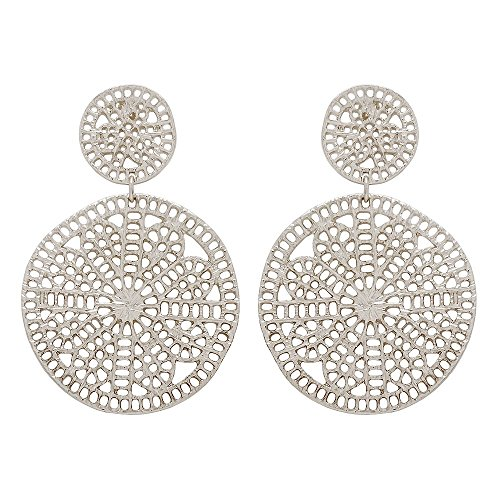 Seraphina New York Double Crochet Link Casting Filigree Post Earring (Silver) ()