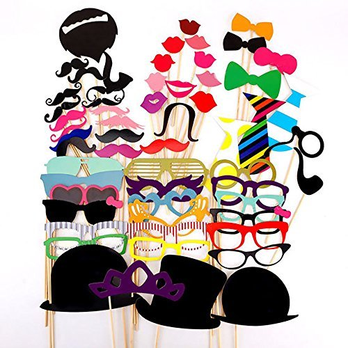 SAVFY Photo Booth Props 58 piece DIY Kit for Birthdays Reunions Photobooth Dress-up Accessories & Party Favors, Costumes with Mustache on a stick, Hats, Glasses, Mouth, Bowler, Bowties