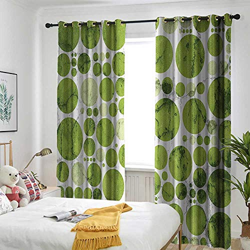 Polka Dots Home Decor Collection Thermal Insulated Blackout Curtains Nature Inspired Large Polka Dots Spirals Stripes Decorative Artful Illustration Great for Living Rooms & Bedrooms 72