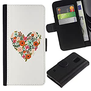 KingStore / Leather Etui en cuir / Samsung Galaxy S5 V SM-G900 / Patrón floral de la primavera Summer Love;