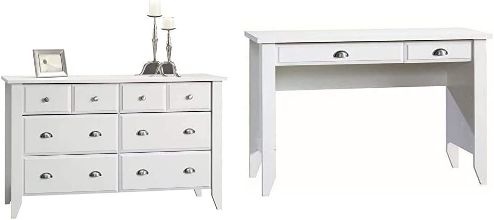 Sauder Shoal Creek Dresser, Soft White Finish & Shoal Creek Computer Desk, Soft White Finish